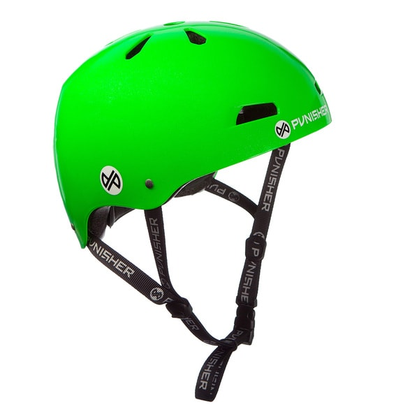 Punisher Skateboards Youth 13-vent Bright Neon Green Dual Safety Certified BMX Bike and Skateboard Helmet, Size Medium