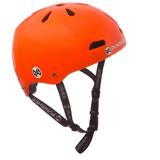 Punisher Skateboards Youth 13-vent Metallic Flake Neon Orange Dual Safety Certified BMX Bike and Skateboard Helmet, Size Medium
