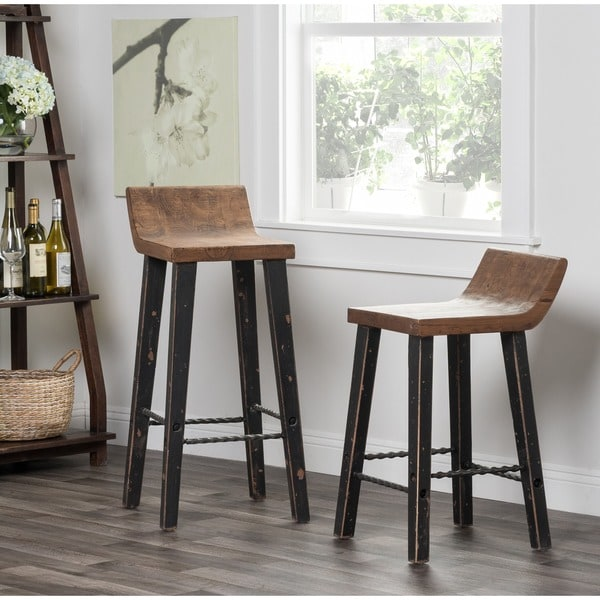 Tam Rustic Natural With Black Legs Wood 30 Inch Barstool By Kosas