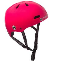 Punisher Skateboards Youth 13-vent Metallic Flake Neon Hot Pink Dual Safety Certified BMX Bike & Skateboard Helmet, Size Medium