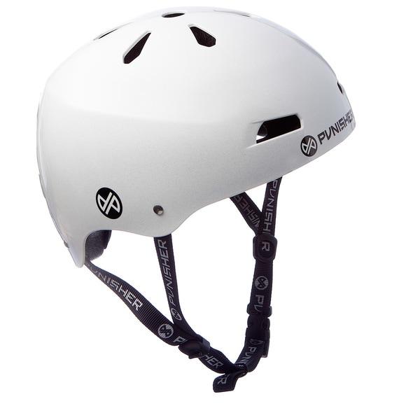Punisher Skateboards Youth 13-vent Metallic Flake Bright White Dual Safety Certified BMX Bike and Skateboard Helmet, Size Medium