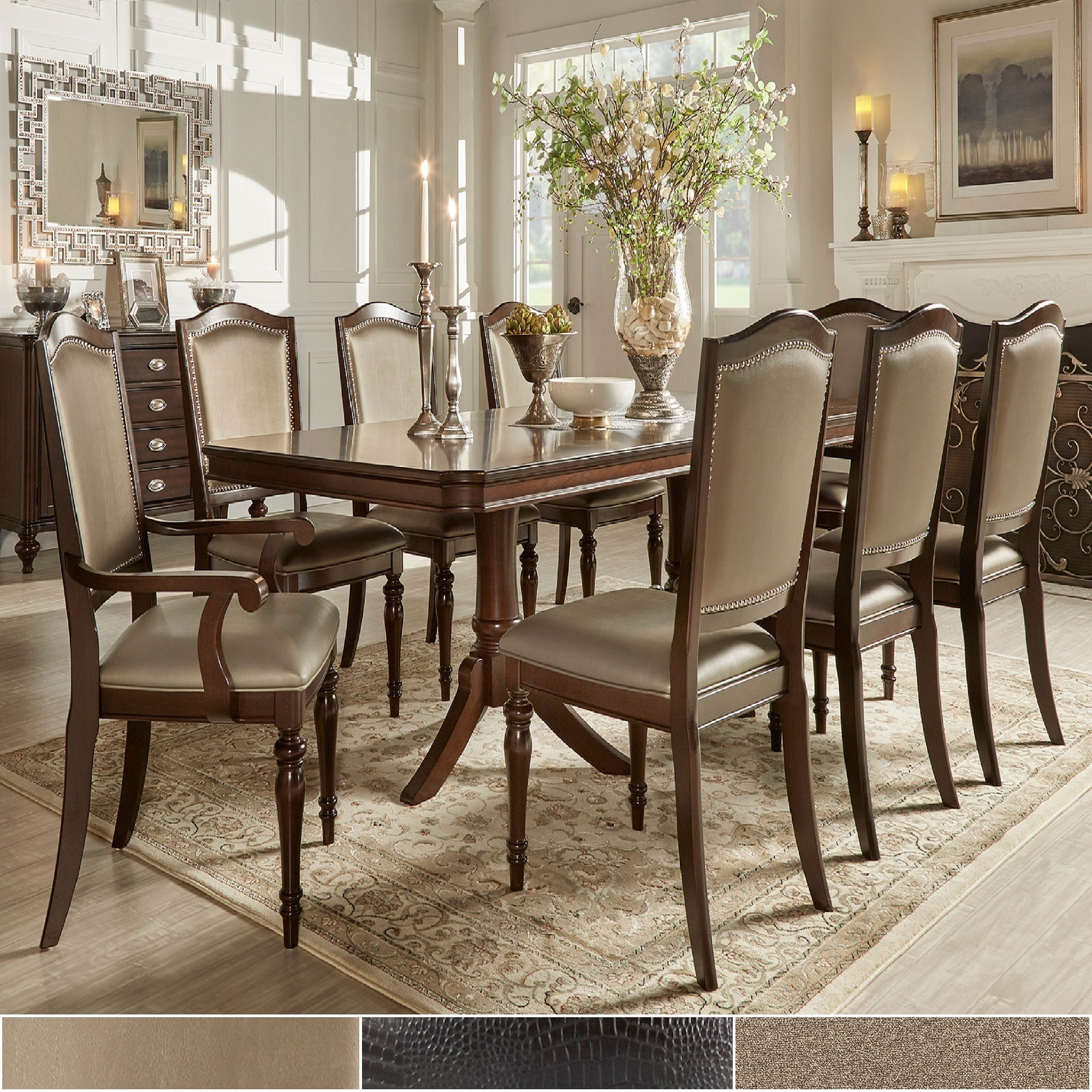 Nail Head Accent Transitional Dining