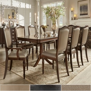 TRIBECCA HOME LaSalle Espresso Nail Head Accent Transitional Dining Chairs (Set of 2)
