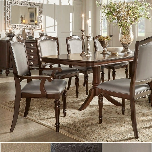 LaSalle Espresso Nail Head Accent Transitional Dining