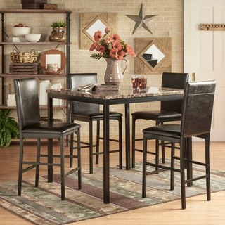 Link to Darcy 5-piece Faux Marble/ Black Metal Counter Height Dining Set by iNSPIRE Q Bold Similar Items in Dining Room & Bar Furniture