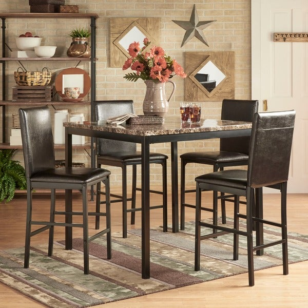 darcy 5piece faux marble black metal counter height dining set by inspire q