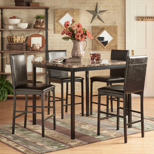 metal dining room sets | Shop Darcy 5-piece Faux Marble/ Black Metal Counter Height ...