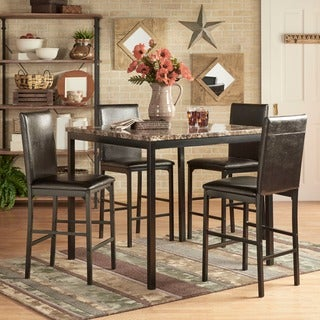 Darcy 5-piece Faux Marble/ Black Metal Counter Height Dining Set by INSPIRE Q