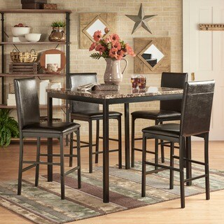 Darcy 5 Piece Faux Marble/ Black Metal Counter Height Dining Set By INSPIRE  Q