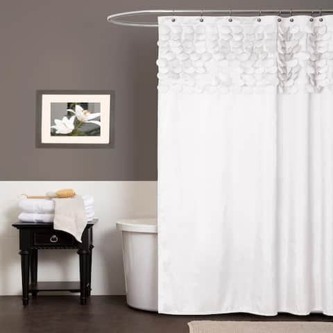 Lush Decor Lillian White Shower Curtain