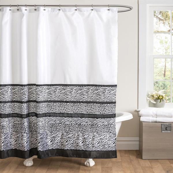Lush Decor Tribal Dance Black/White Shower Curtain