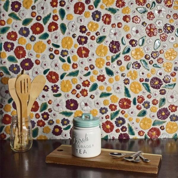 SomerTile 11.75x11.75-inch Bloom Perennial Ceramic Mosaic Wall Tile (5 tiles/4.8 sqft.)
