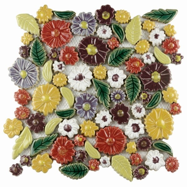 SomerTile 11.75x11.75-inch Bloom Perennial Hand-Painted Ceramic Wall Tile (Case of 5)