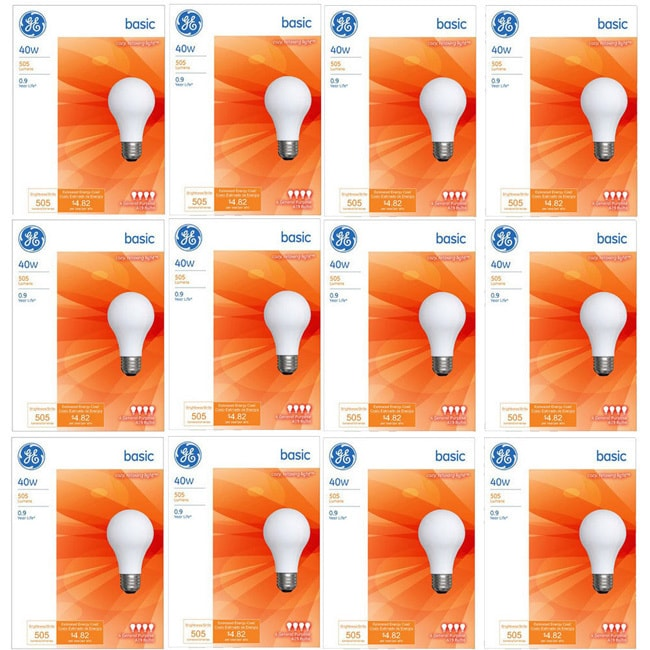 GE 13255 40-watt A19 General Purpose Light Bulbs Pack of 12 12 Pack