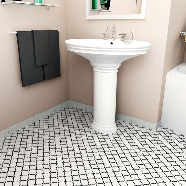 SomerTile 9.75x10.75-inch Victorian Morocco Glossy White Porcelain Mosaic Floor and Wall Tile (Case