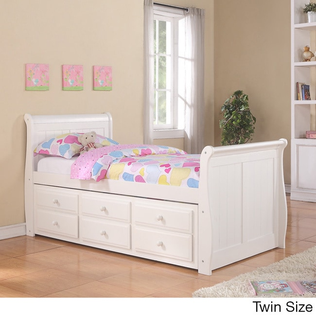 Donco Kids White Sleigh Captains Bed with Trundle (Twin)