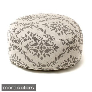 Adora Damask Print Beaded Pouf