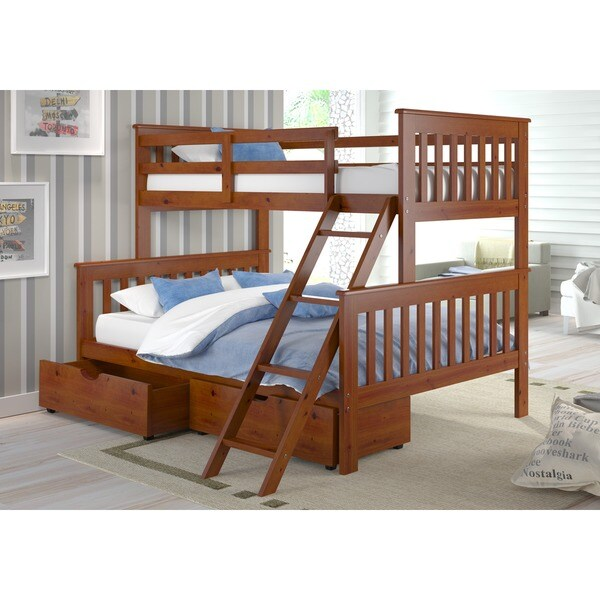 Shop Donco Kids Mission Tilt Ladder Twin Full Storage Drawer Bunk