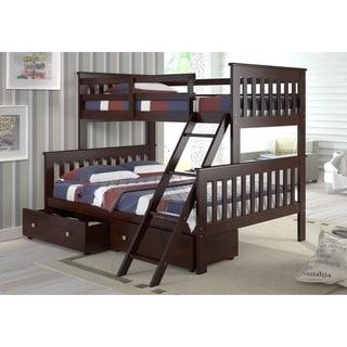 Donco Kids Mission Tilt Ladder Twin/ Full Storage Drawer Bunk Bed