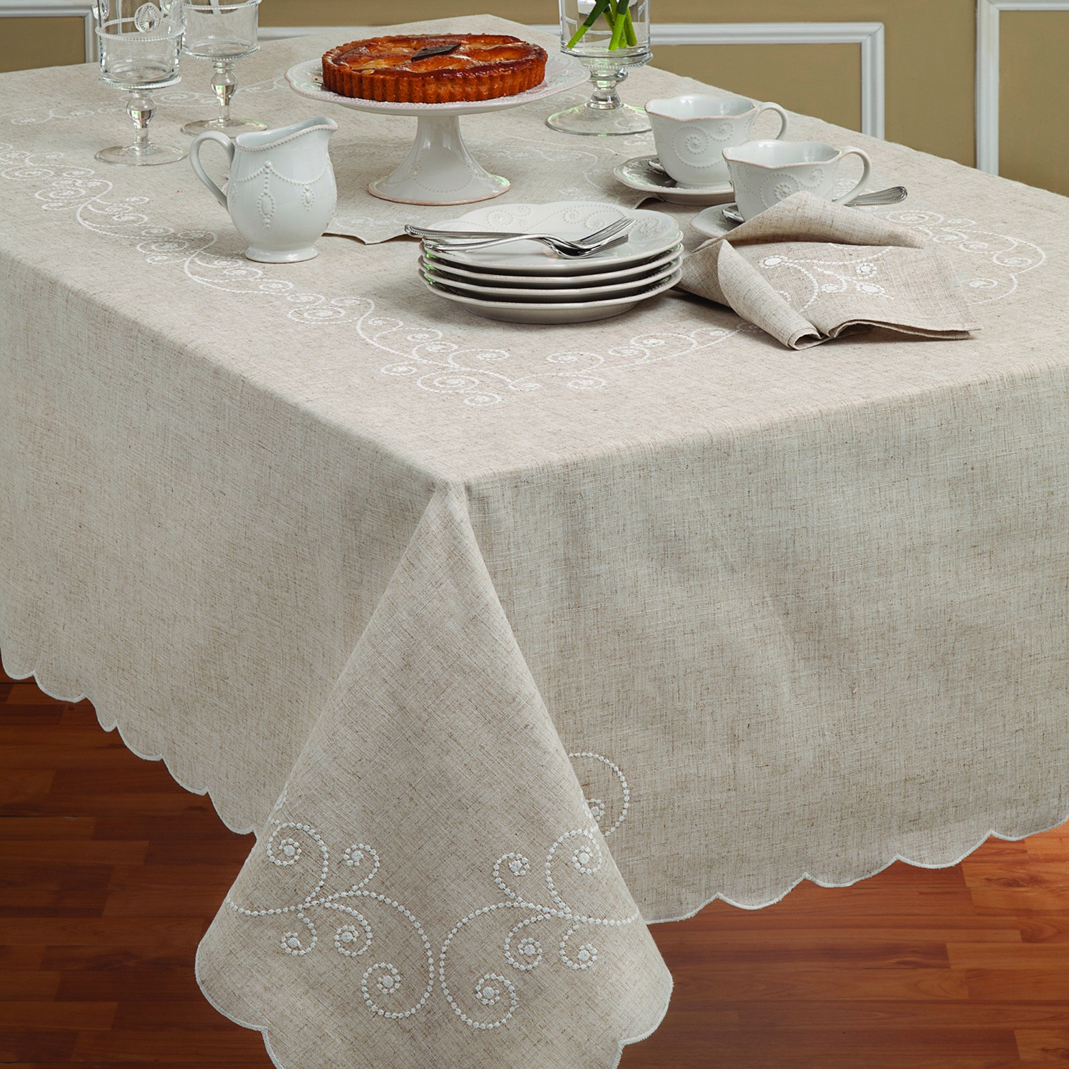 Lenox French Perle Embroidered Linen Blend Tablecloth (52...
