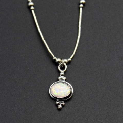 Handmade 'Fiery Horizon' Sterling Silver White Opal Necklace (India)
