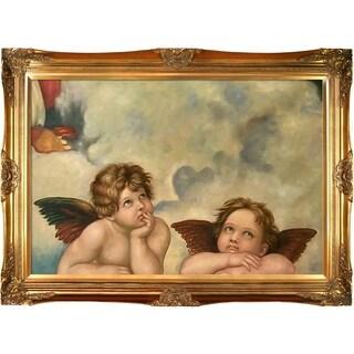 Raphael Madonna Sixtina (Two cherubs detail) Hand Painted Framed Canvas Art