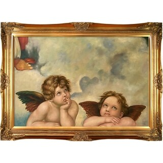 Raphael Madonna Sixtina (Two cherubs detail) Hand Painted Framed Canvas Art