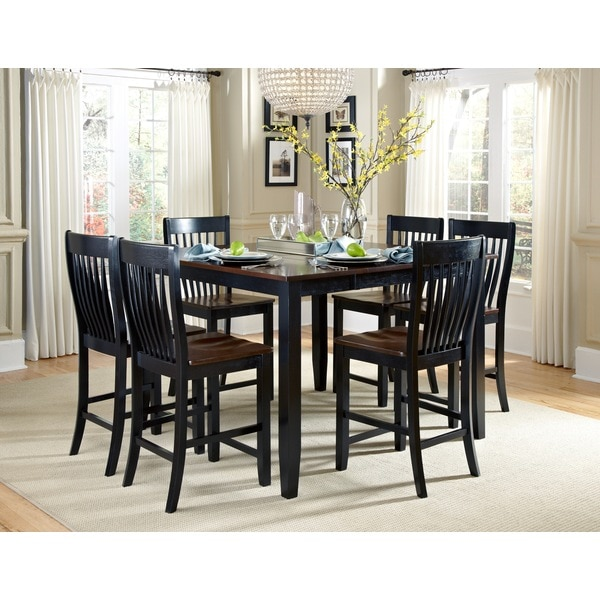 shop canterbury 7 piece brown black maple wood dining set free shipping today overstock. Black Bedroom Furniture Sets. Home Design Ideas