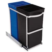 simplehuman Black Stainless Steel and Plastic Pull-out Twin Bucket Recycle Cans