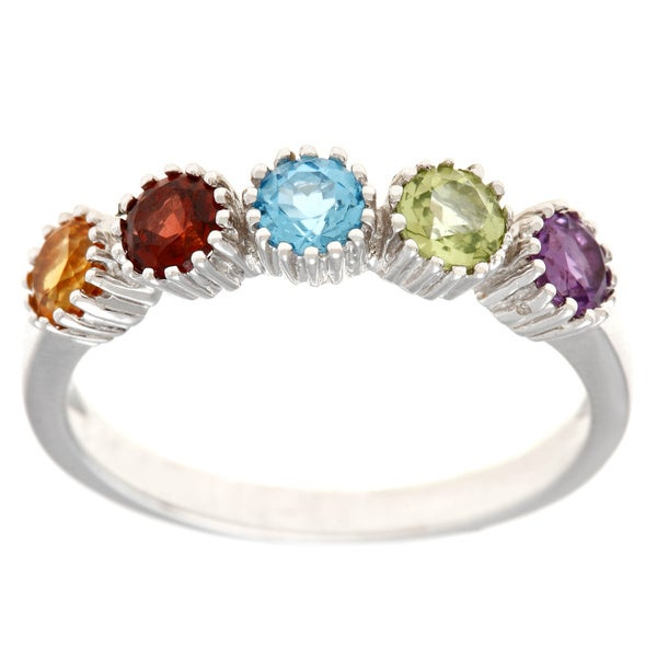 14k White Gold Multi-gemstone Ring