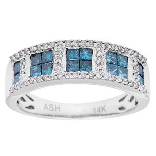 14k White Gold 1 1/5ct TDW Blue and White Diamond Anniversary Ring (SI1-SI2)