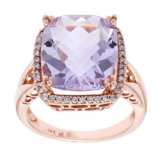 14k Rose Gold 1/5ct TDW Diamond and Rose de France Ring (H-I, SI1-SI2)
