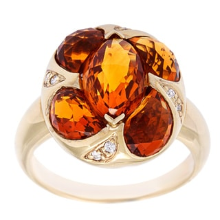 14k Yellow Gold Yellow Citrine and Diamond Accent Ring