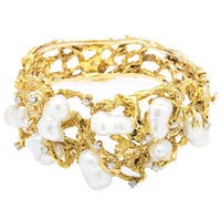 Pre-owned 14k Yellow Gold 3/5ct TDW 1970s Diamonds and Pearl Free-form Nugget Bangle (G-H, SI1-SI2) (8.5 mm)