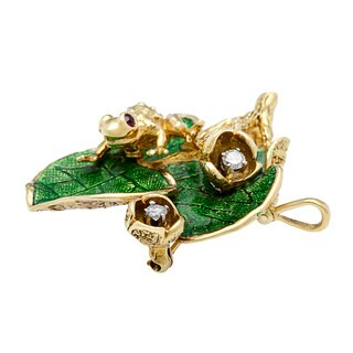 Pre-owned 18k Yellow Gold 1/5ct TDW Estate Frog Brooch (G-H, SI1-SI2)