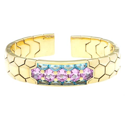 Pre-owned 18k Yellow Gold and Multicolor Topaz Italian Estate Bangle