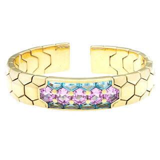 Pre-owned 18k Yellow Gold and Multicolor Topaz Italian Estate Bangle|https://ak1.ostkcdn.com/images/products/8754199/18k-Yellow-Gold-and-Multicolor-Topaz-Italian-Estate-Bangle-P15998045.jpg?impolicy=medium