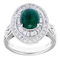 Pre-owned 18k White Gold 1 1/2ct TDW and Emerald Estate Cocktail Ring (H-I, VS1-VS2)