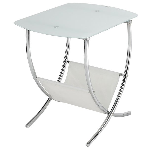 833613b9d9 Shop Chrome/ Frosted Glass Side Table with Magazine Holder - Free Shipping  Today - Overstock - 8754219