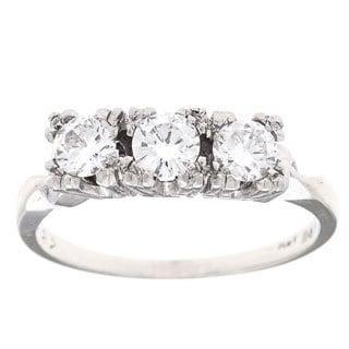 Pre-owned 14k White Gold 3/4ct TDW Three-stone Estate Ring (H-I, VS1-VS2)
