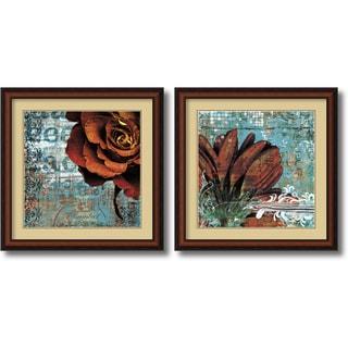 Christina Lazar Schuler 'Graffiti Rose & Gerbera' 25 x 25-inch Framed Art Print (Set of 2)