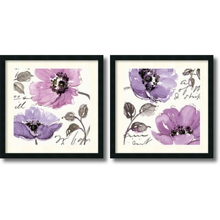 Pela Studio 'Floral Waltz Plum - set of 2' Framed Art Print (24 x 24-inch) Each