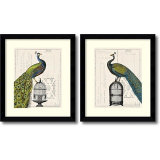Sue Schlabach 'Peacock Birdcage - set' Framed Art Print 25 x 29-inch (Each)
