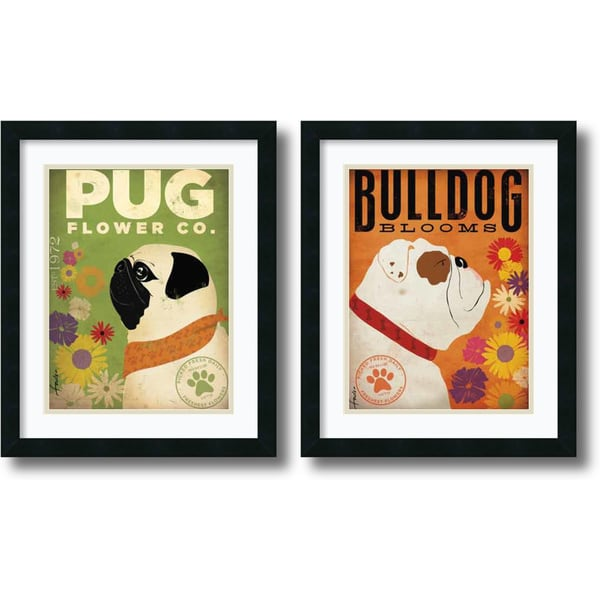 Framed Art Print 'Pug & Bulldog Florals - set of 2' by Stephen Fowler 18 x 22-inch Each