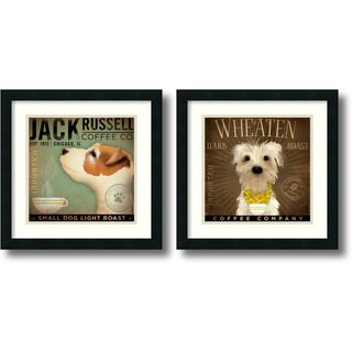 Framed Art Print 'Coffee Dogs - set of 2' by Stephen Fowler 18 x 18-inch Each
