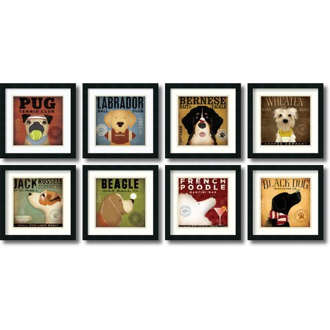 Framed Art Print 'Stephen Fowler Dogs - set of 8' by Stephen Fowler 18 x 18-inch Each