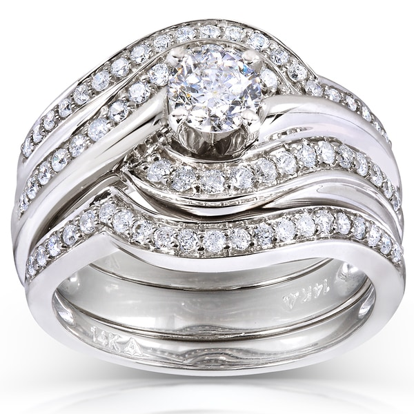 Annello by Kobelli 14k White Gold 7/8ct TDW Round Diamond 3-piece Bridal Rings Set