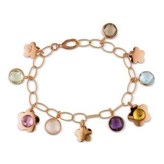 Miadora Signature Collection 18k Rose Gold 22ct TGW Multi-gemstone Charm Bracelet
