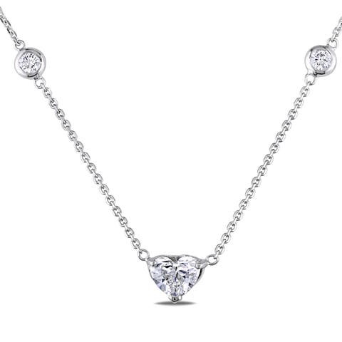 Miadora Signature Collection 14k White Gold 1 5/8ct TDW Heart Necklace