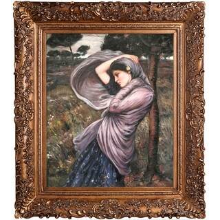 John William Waterhouse 'Boreas' Hand-painted Framed Canvas Art